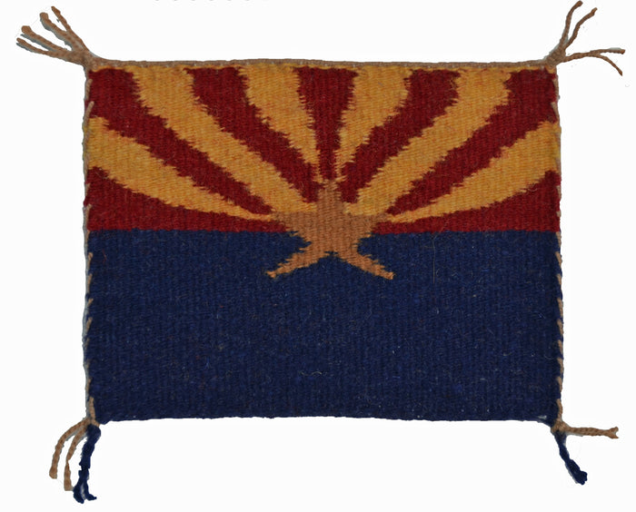 SOLD Miniature : Arizona Flag Navajo Tapestry : Louise Bia Yazzie : m-154 : 4.5″ x 3.5 ″