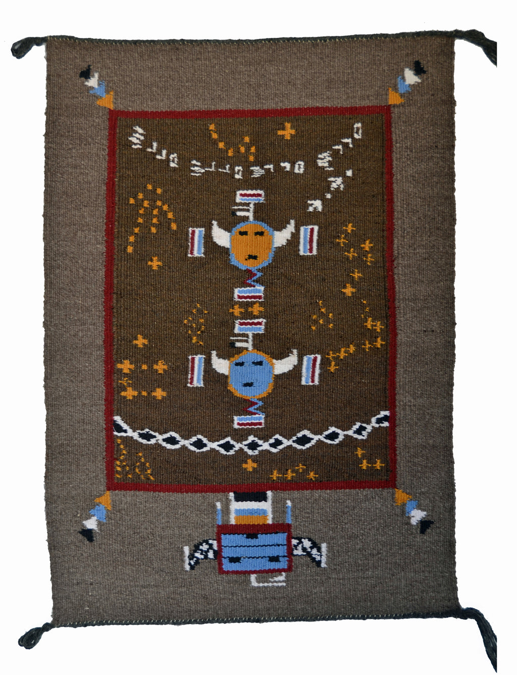 "Navajo Sandpainting Weaving : Arnold Begay : 3347 : 30"" x 22"" - Getzwiller's Nizhoni Ranch Gallery"