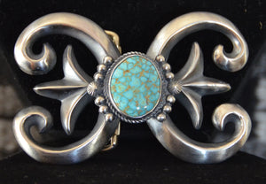 Native American Jewelry: Navajo : Turquoise and Silver Belt Buckle : Harrison Bitsue - Getzwiller's Nizhoni Ranch Gallery