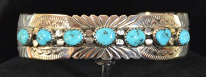 Native American Jewelry : Sterling Silver with Turquoise Bracelet : Navajo : David Seger : NAJ-59 - Getzwiller's Nizhoni Ranch Gallery