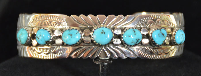 Native American Jewelry : Sterling Silver with Turquoise Bracelet : Navajo : David Seger : NAJ-59