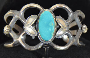SOLD - Native American Jewelry : Sterling Silver with Turquoise Bracelet : Navajo : Henry Morgan : NAJ-60 - Getzwiller's Nizhoni Ranch Gallery
