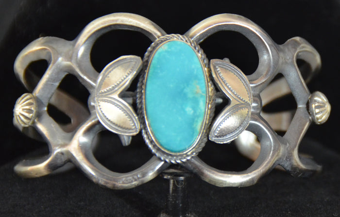 Native American Jewelry : Sterling Silver with Turquoise Bracelet : Navajo : Henry Morgan : NAJ-60