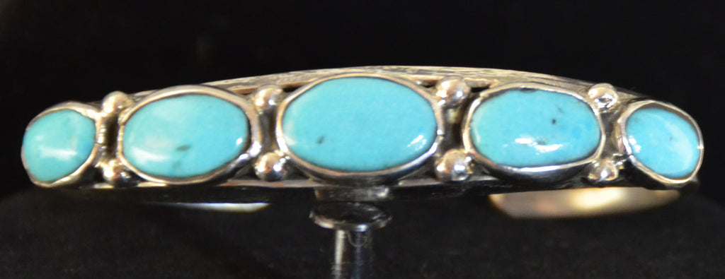 Native American Jewelry : Sterling Silver with Turquoise Bracelet : Zuni : Evelyn Platero : NAJ-62 - Getzwiller's Nizhoni Ranch Gallery