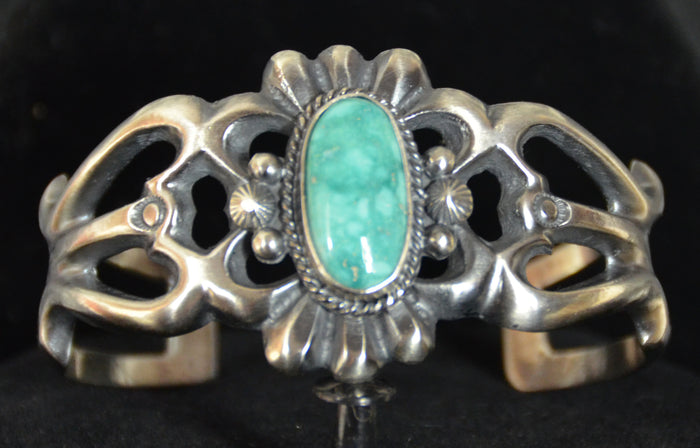 Native American Jewelry : Sterling Silver with Turquoise Bracelet : Navajo : Harrison Bitsue : NAJ-61