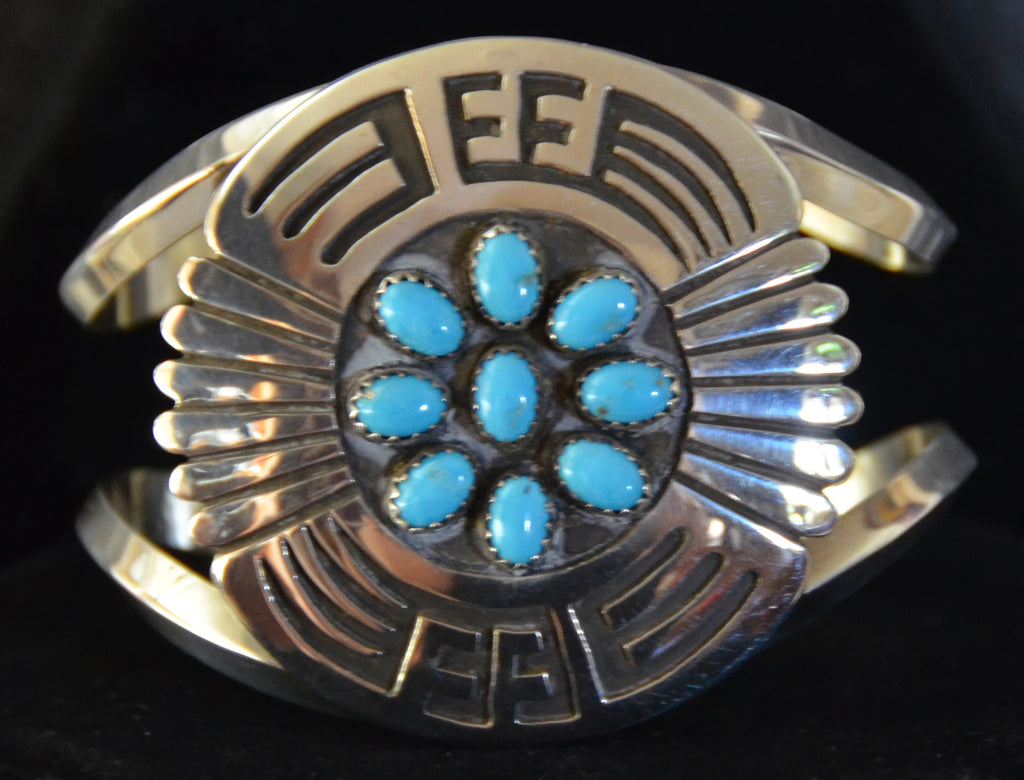 Native American Jewelry : Sterling Silver with Turquoise Bracelet : Navajo : Roscoe Scott : NAJ-65 - Getzwiller's Nizhoni Ranch Gallery
