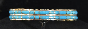 Native American Jewelry : Sterling Silver with Turquoise Bracelet : Zuni : Sheldon Lalio : NAJ-57 - Getzwiller's Nizhoni Ranch Gallery