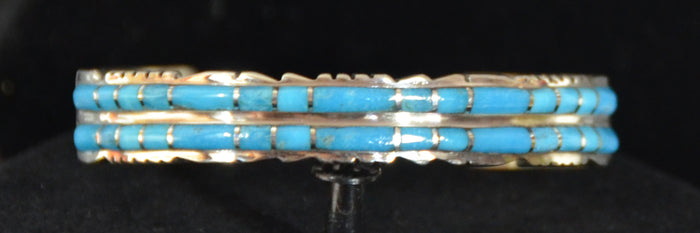 Native American Jewelry : Sterling Silver with Turquoise Bracelet : Zuni : Sheldon Lalio : NAJ-57