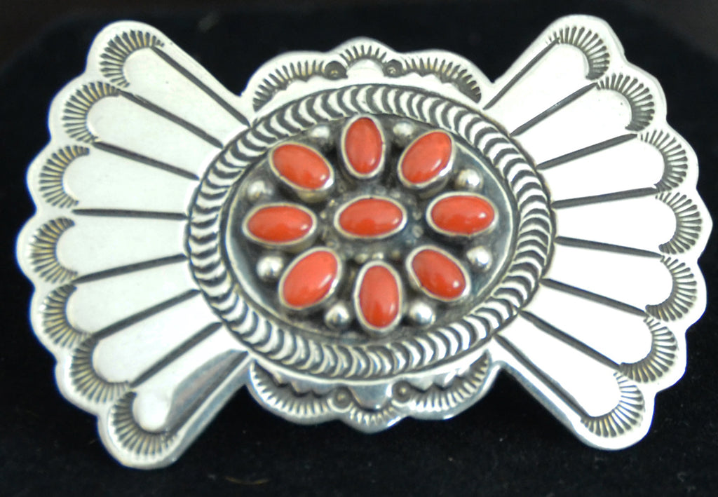 Native American Jewelry : Sterling Silver : Navajo : Lee Charley : Coral Pin : NAJ-29P - Getzwiller's Nizhoni Ranch Gallery