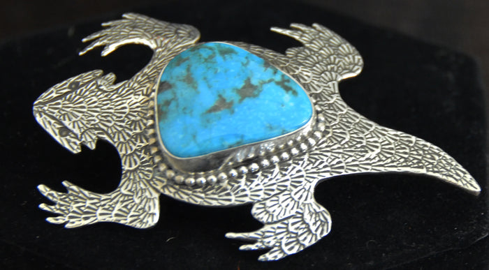 Native American Jewelry : Sterling Silver : Navajo : Lee Charley : Turquoise :  Horny Toad : Pin : NAJ-30P
