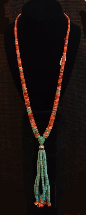 Native American Jewelry : Navajo:  turquoise and Spiny Oyster Necklace : NAJ-N33 - Getzwiller's Nizhoni Ranch Gallery