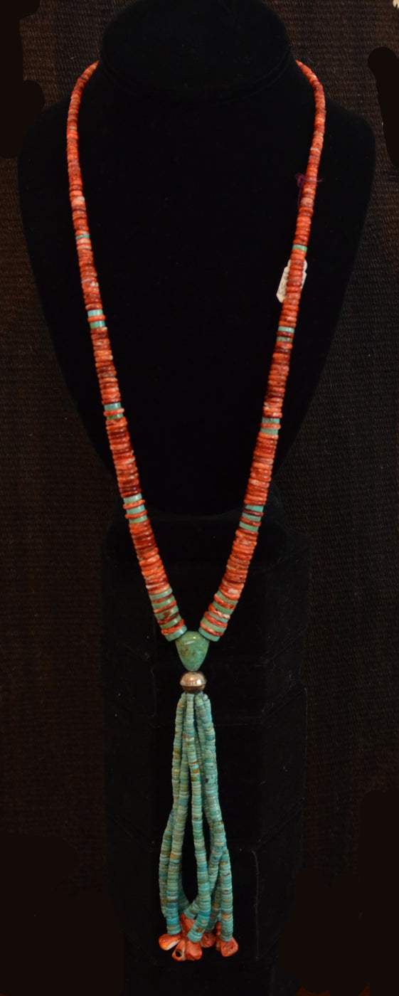 Native American Jewelry : Navajo:  turquoise and Spiny Oyster Necklace : NAJ-N33