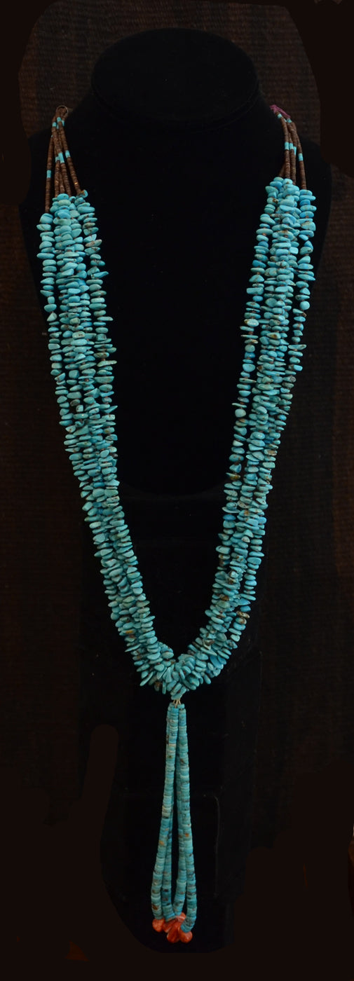 Native American Jewelry : Navajo:  Traditional Turquoise Navajo Necklace : NAJ-N6