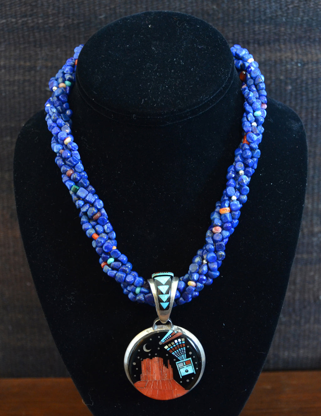 HOLD Native American Jewelry : Navajo : Necklace - Lapis beads, Night Sky Over Shiprock 2 sided pendant : Ervin P Tsosie : NAJ-N20 - Getzwiller's Nizhoni Ranch Gallery