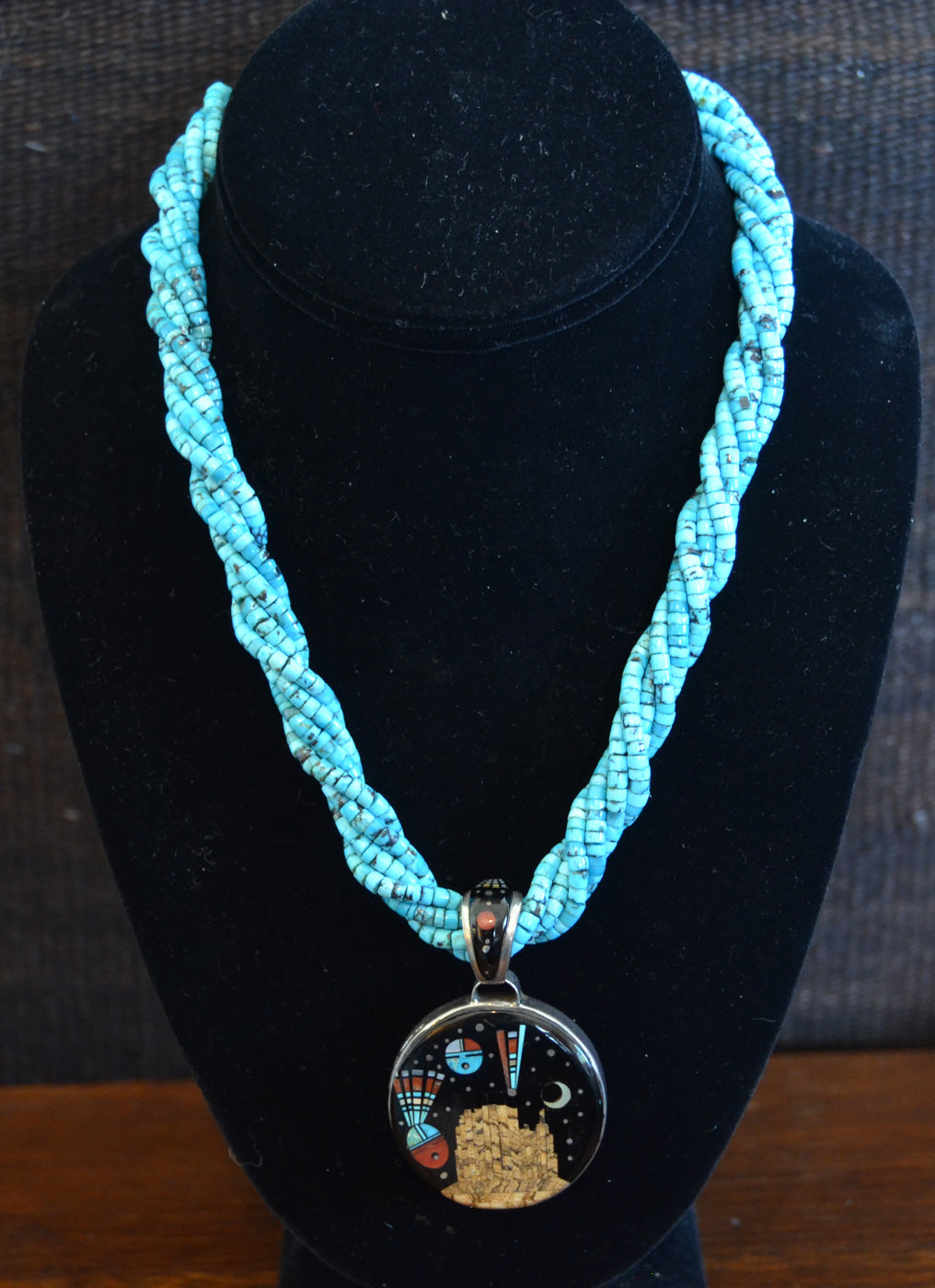 Native American Jewelry : Navajo : Necklace - Turquoise beads, Night Sky Over Shiprock 2 sided pendant : Ervin P Tsosie : NAJ-N21 - Getzwiller's Nizhoni Ranch Gallery