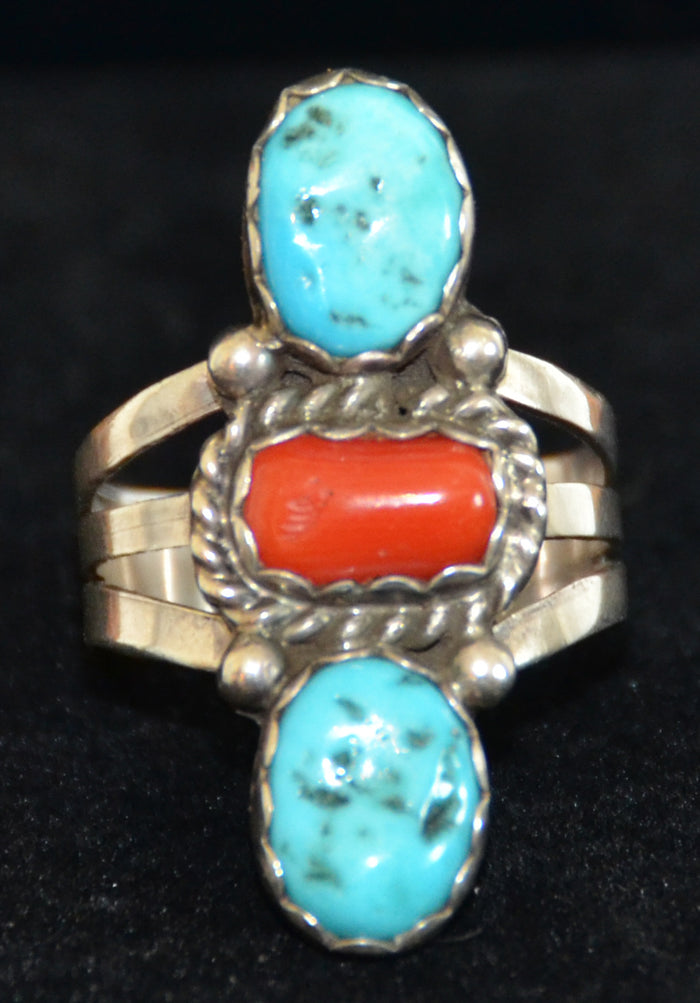 Native American Jewelry : Navajo: Turquoise and Coral : Pete Morgan : Ring