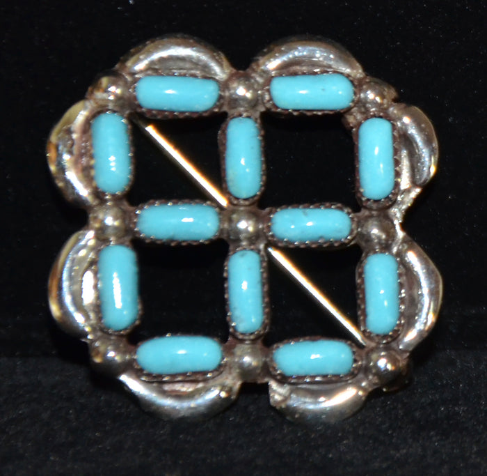 Native American Jewelry : Zuni : Square Pin : Yvette Kamaasee : NAJ-38P