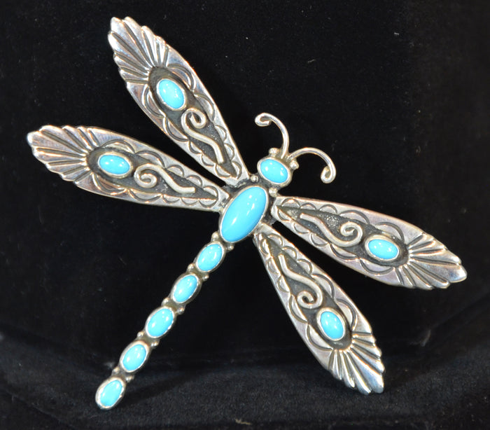 Native American Jewelry : Navajo : Dragonfly Pin : Lee Charley : NAJ-22P
