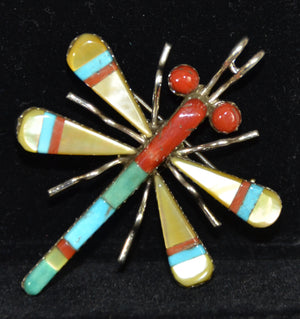 Native American Jewelry : Sterling Silver : Wayne J Haloo : Zuni : Dragonfly : Pin : NAJ-31P - Getzwiller's Nizhoni Ranch Gallery