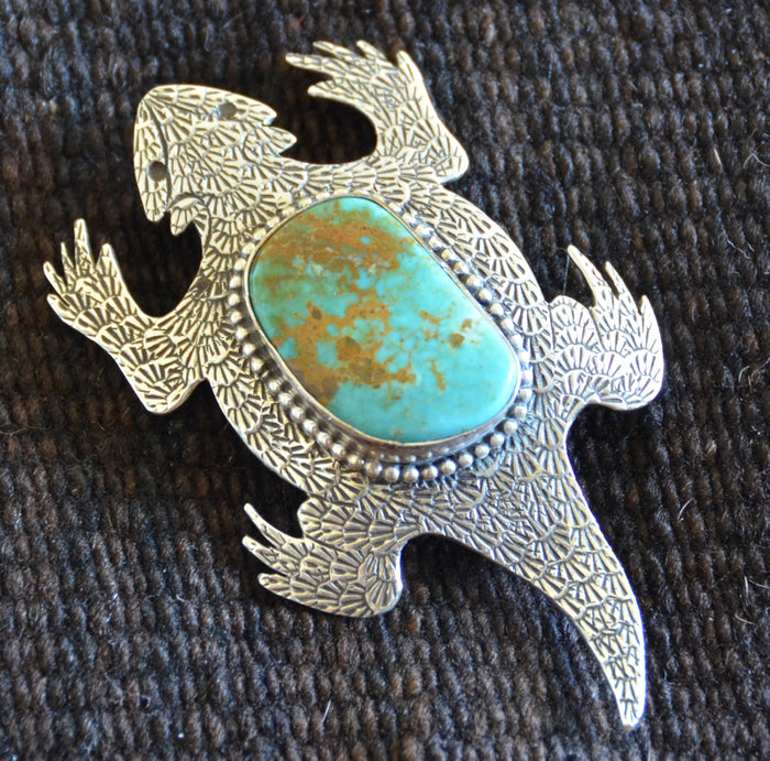 Native American Jewelry : Sterling Silver : Navajo : Lee Charley : Turquoise :  Horny Toad : Pin : NAJ-30Pa