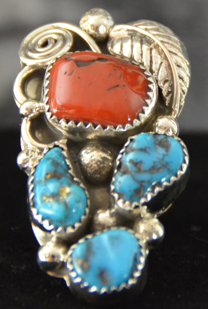 Native American Jewelry : Navajo : Ring : Turquoise and Coral : Kenneth Largo : NAJ- 1R