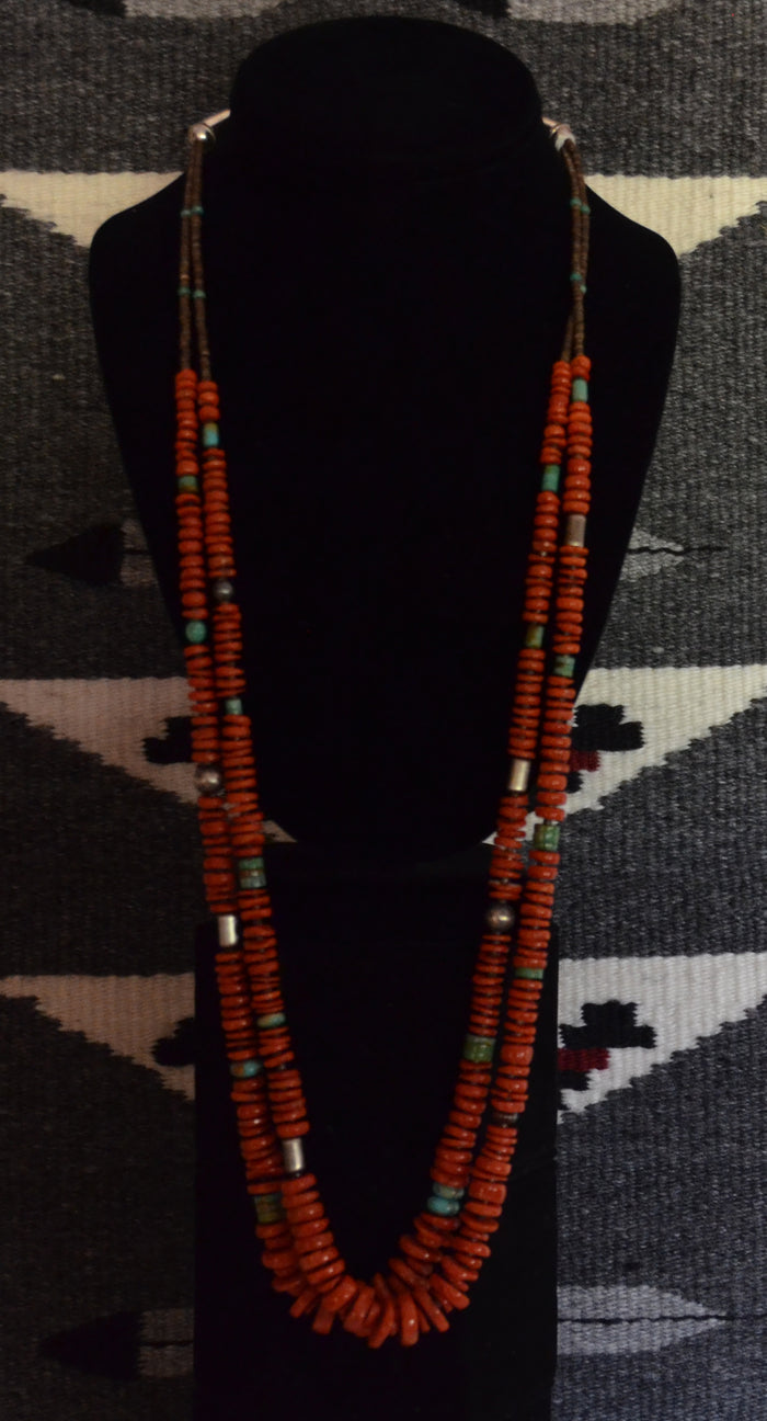 Native American Jewelry : Navajo:  Coral Necklace : Helen Tsosie : NAJ-N35