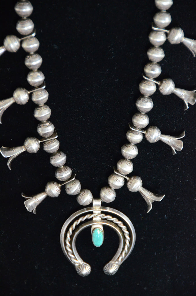 Jewelry : Vintage Navajo Squash Blossom Necklace : JV 1 - Getzwiller's Nizhoni Ranch Gallery