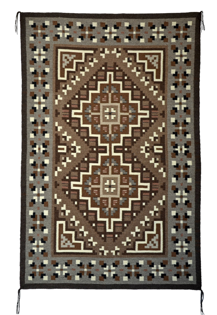 "Two Grey Hills Navajo Rug : Helen Bia : Churro 1599 : 39"" x 60"""
