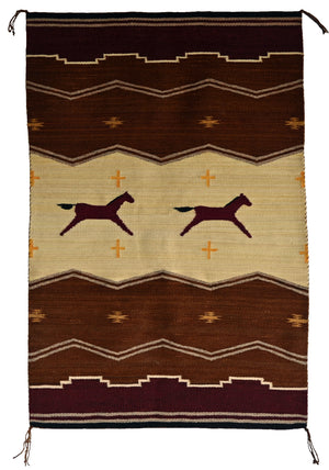 "SOLD -  Horse Pictorial Navajo Weaving : GH : Churro 1602 : 31"" x 47"" - Getzwiller's Nizhoni Ranch Gallery"