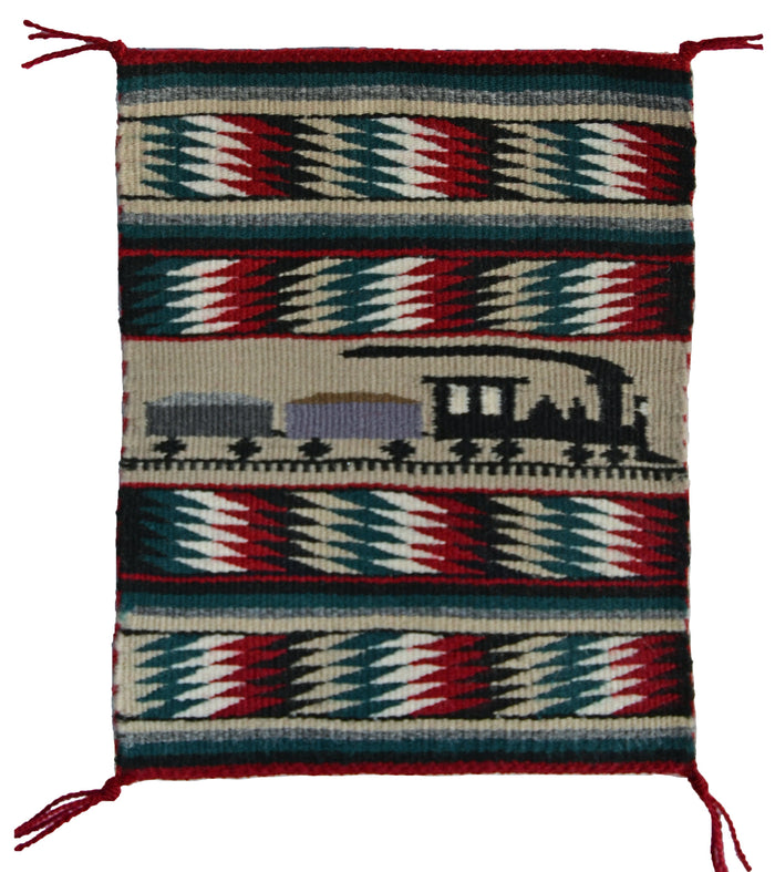 Miniature : Train Pictorial Navajo Tapestry : Matilda Yazzie Bia : m-155