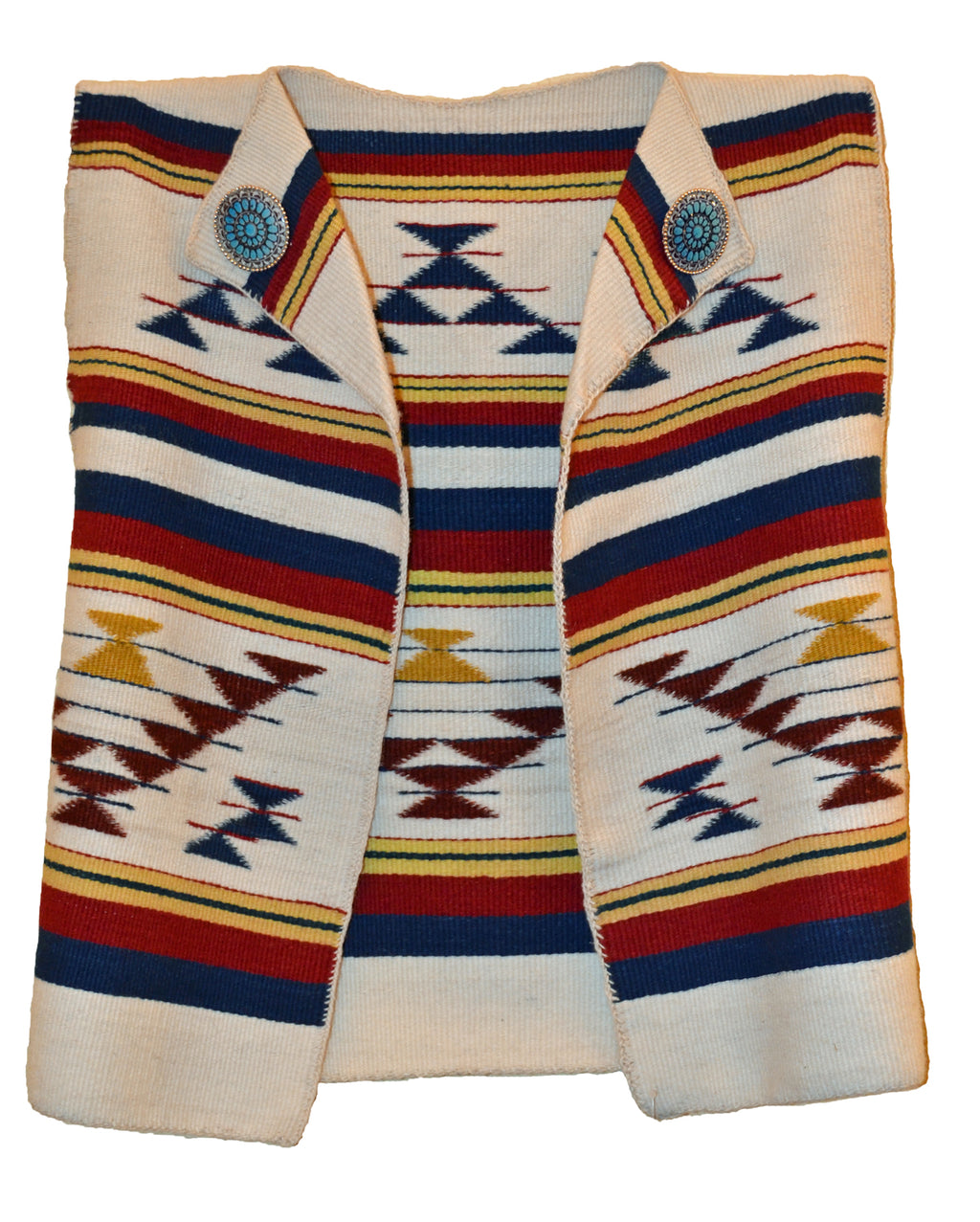 This vest is hand woven on a Navajo loom