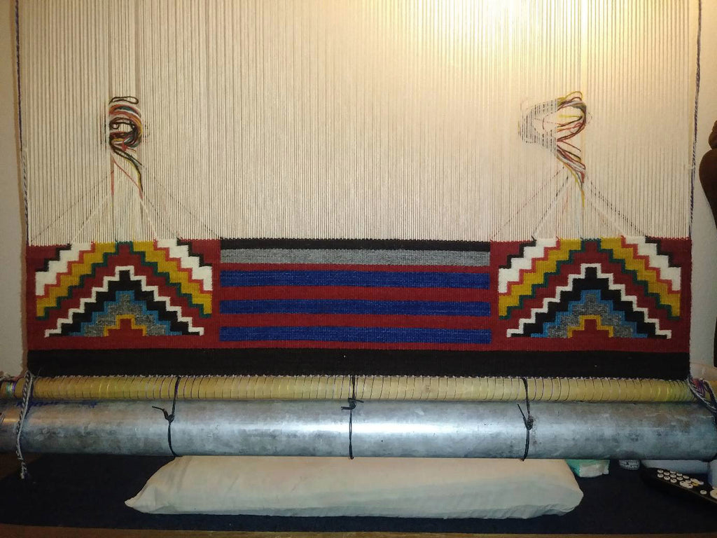 Navajo Rug on the Loom : Elvie Vanwinkle : Looming Attractions - Getzwiller's Nizhoni Ranch Gallery
