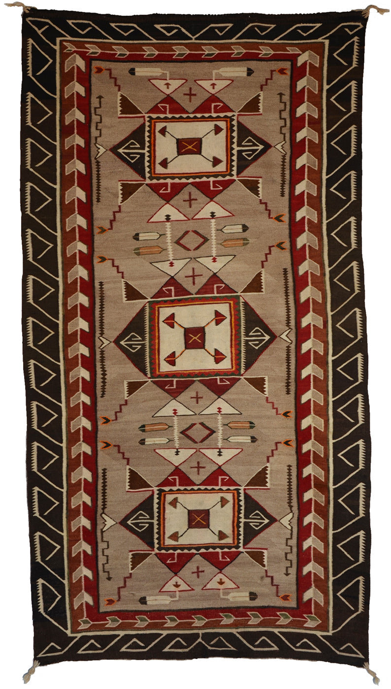 "Teec Nos Pos Navajo Weaving : Antique : PC 145  : 40"" x 73"""