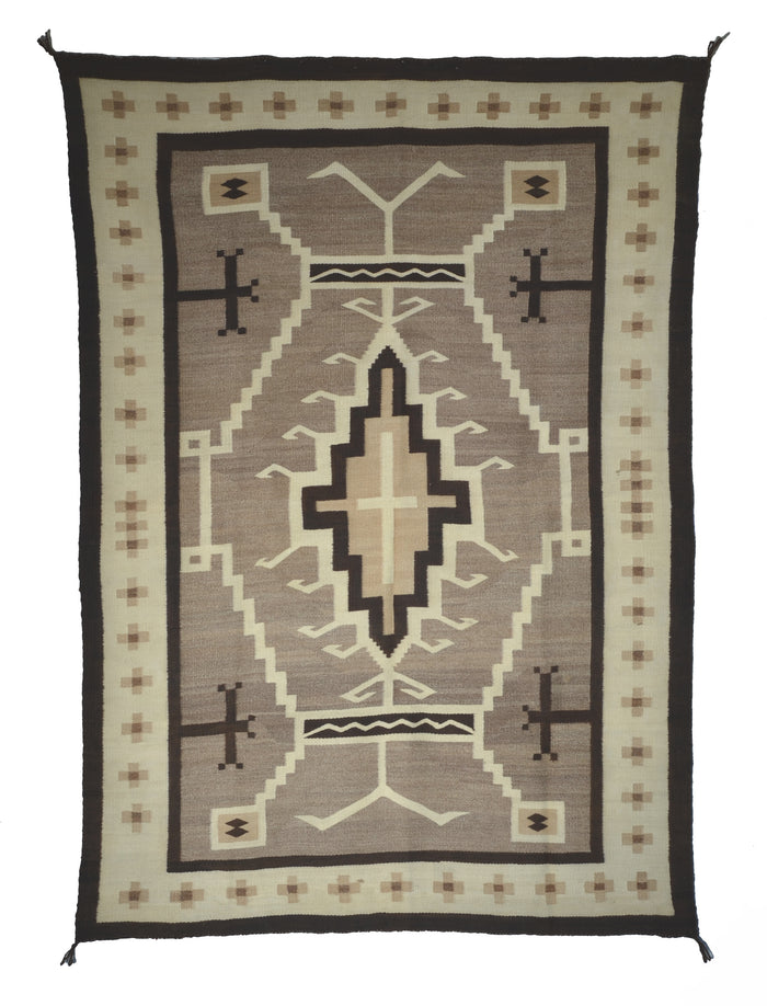 "Two Grey Hills - Toadlena Navajo Weaving : Historic : PC 129 : 46"" x 65"""