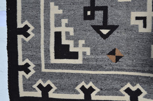"Two Grey Hills - Toadlena Navajo Weaving : Historic : PC 132 : 43"" x 74"" - Getzwiller's Nizhoni Ranch Gallery"