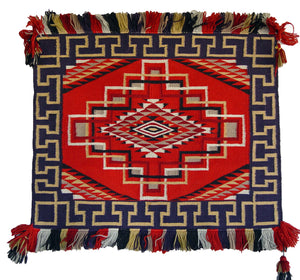 "HOLD Saddle Blanket - Single Sunday Navajo Weaving : Historic : PC 119 : 25"" x 25"" - Getzwiller's Nizhoni Ranch Gallery"