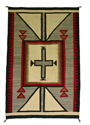 "Crystal / Storm / JB Moore Variant : Historic Navajo Weaving : PC 124 : 49"" x 68"" - Getzwiller's Nizhoni Ranch Gallery"