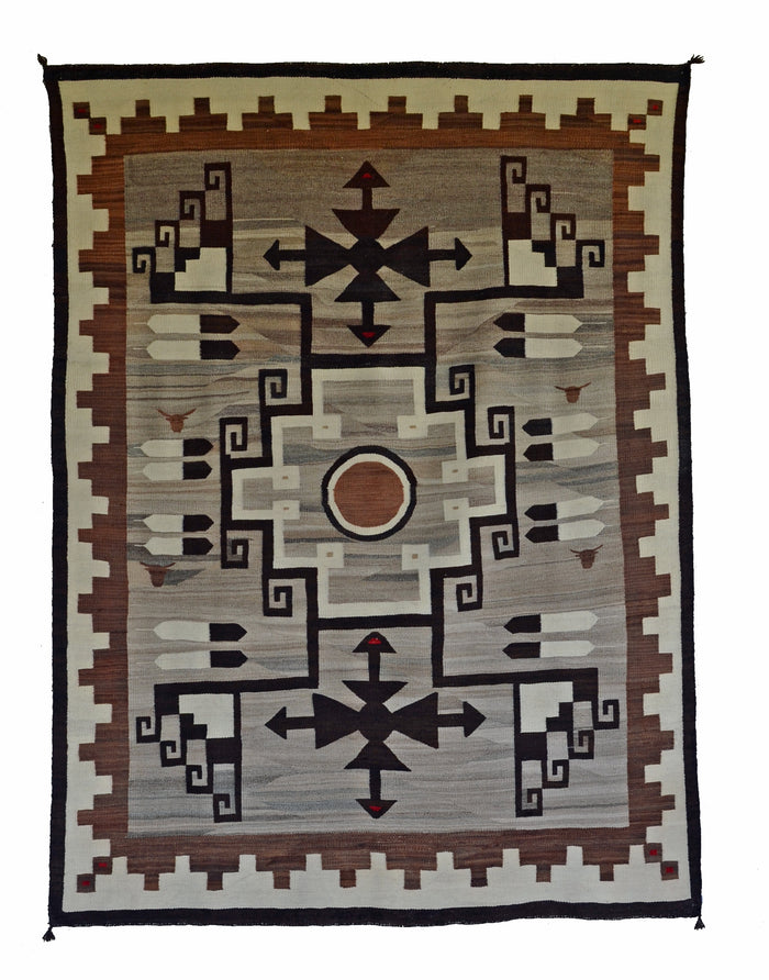 "SOLD Two Grey Hills Navajo Rug Weaving : Historic : PC 24 : 53"" x 72"""