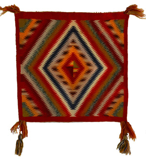 HOLD Germantown Sunday Saddle Throw : Historic Navajo Weaving : PC 69 : 21″ x 22″ - Getzwiller's Nizhoni Ranch Gallery