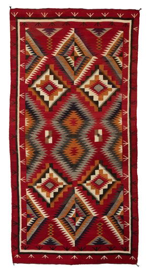 "Red Mesa / Teec Nos Pos Navajo Weaving : Historic : PC 75:  8'9"" x 4'4"" - Getzwiller's Nizhoni Ranch Gallery"