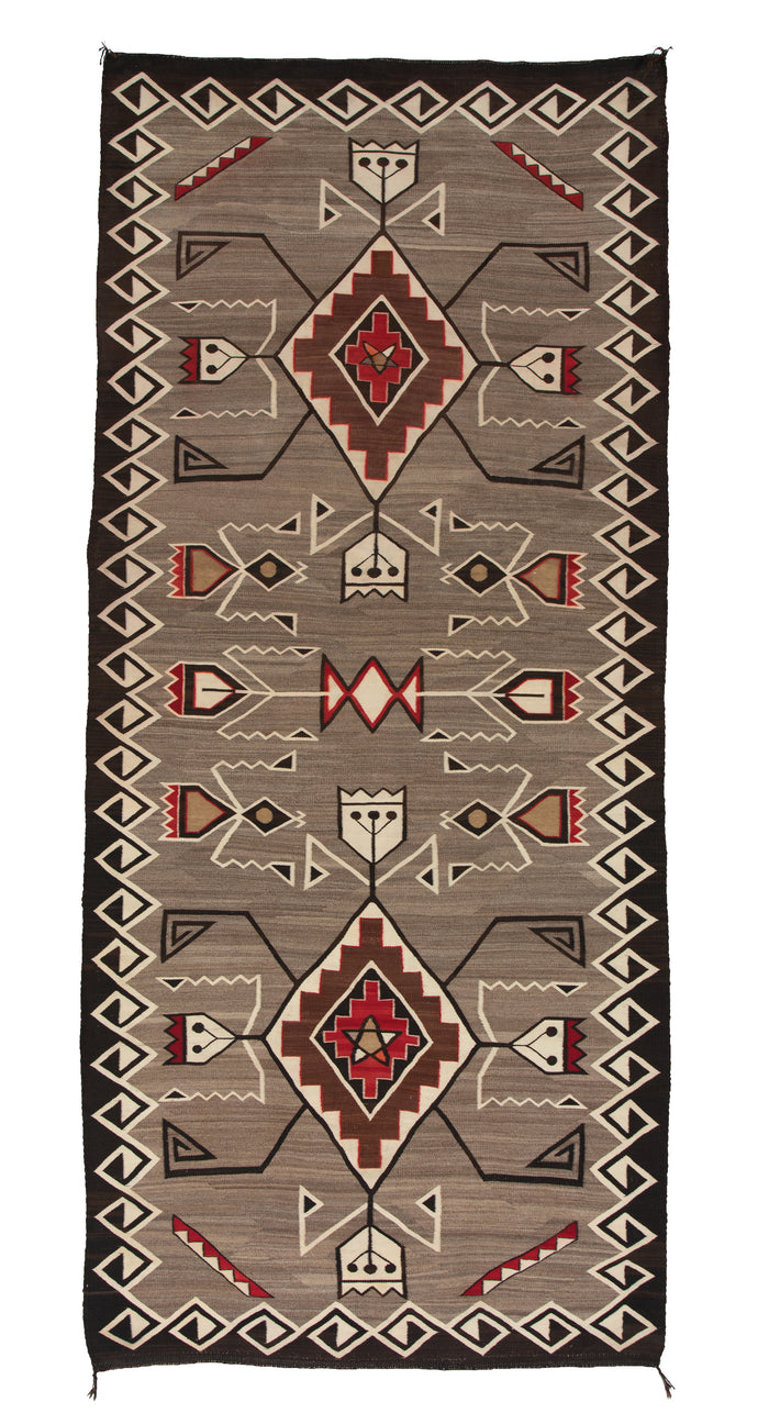 "Teec Nos Pos Navajo Weaving : Historic : PC 88: 3'7""x 8'4"""