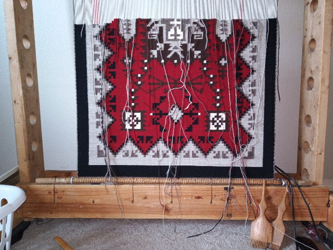 Navajo Rug on the Loom : Ruby Watchman : Looming Attractions - Getzwiller's Nizhoni Ranch Gallery
