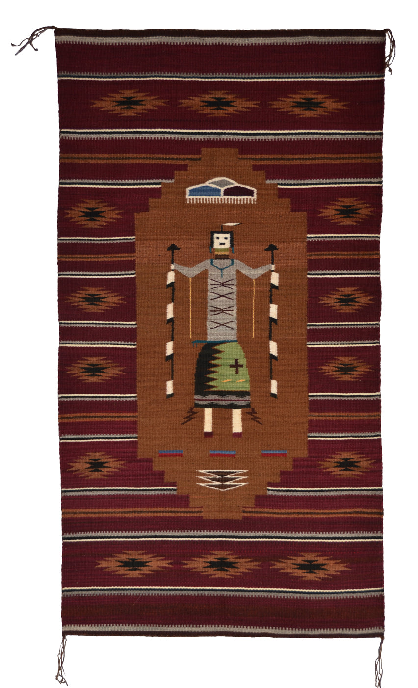 "Single Yei Navajo Weaving : GH : Churro 1622 : 31"" x 59"" - Getzwiller's Nizhoni Ranch Gallery"