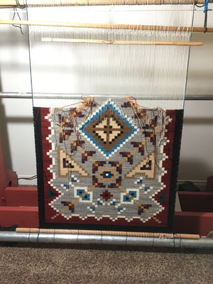 Navajo rug on the loom: Frances Begay :  Looming Attractions - Getzwiller's Nizhoni Ranch Gallery