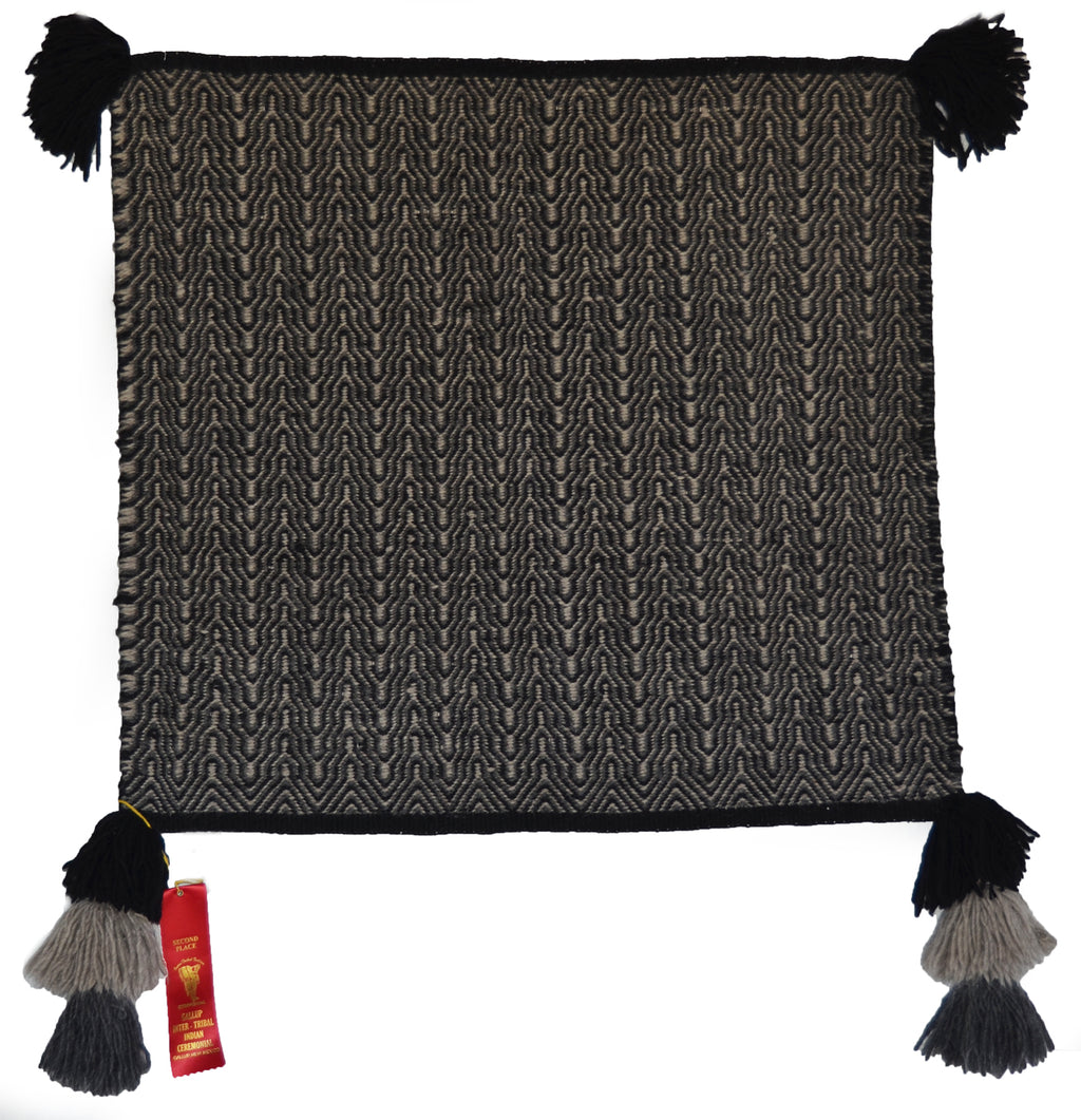 "Navajo Saddle Blanket - Single - Twill : Lucy Nez : 3291 : 28"" x 29.5"" - Getzwiller's Nizhoni Ranch Gallery"