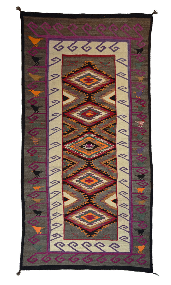 "Teec Nos Pos Pictorial Navajo Rug : Historic : PC 9 : 38"" x 77"""