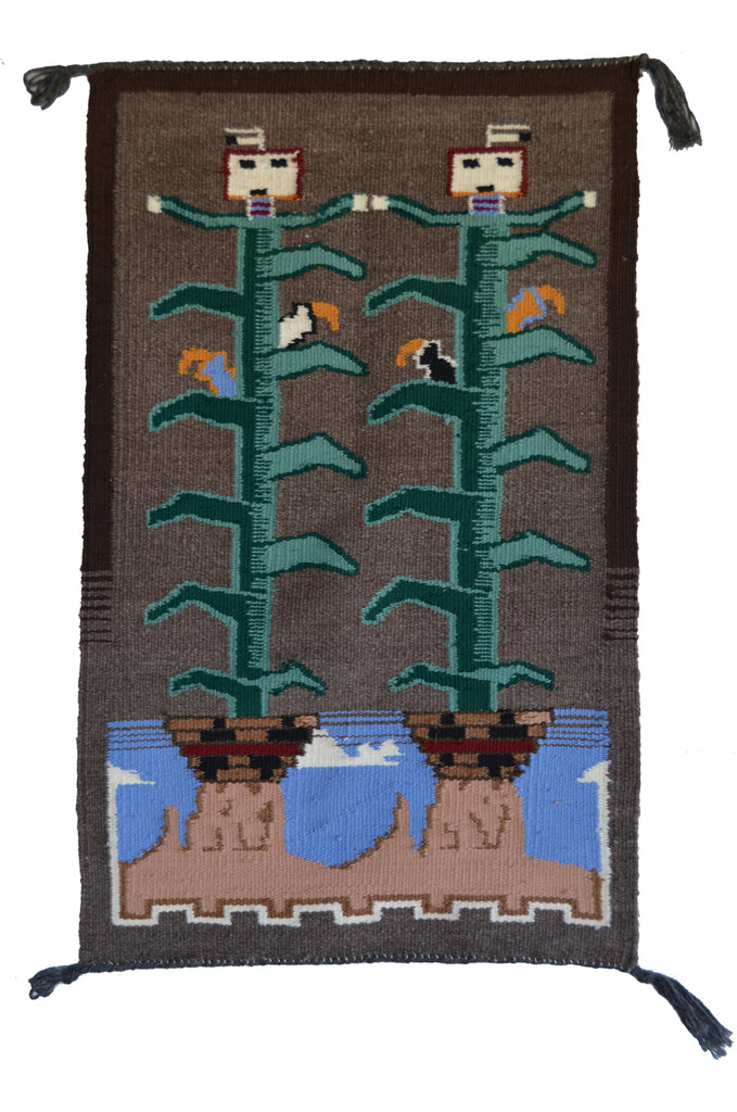 HOLD Twin Corn Pictorial Navajo Weaving : Arnold Begay : 3350 - Getzwiller's Nizhoni Ranch Gallery