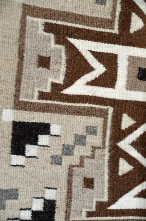 Intricate Two Grey Hills Navajo Rug for sale.