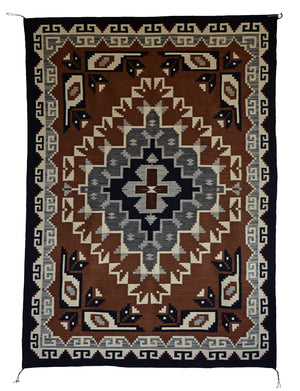 "Two Grey Hills Navajo Rug:  Elsie Bia : Churro 1588 : 50"" x 72"" - Getzwiller's Nizhoni Ranch Gallery"