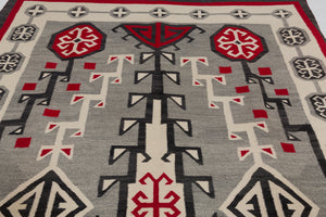 Antique Navajo rug in grey and red -detail photo